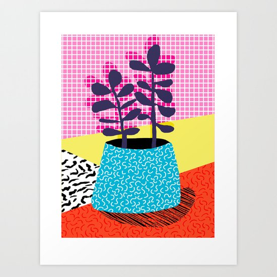 Shibby - neon 80's throwback potted plant indoor garden pink yellow red grid memphis los angeles pal Art Print