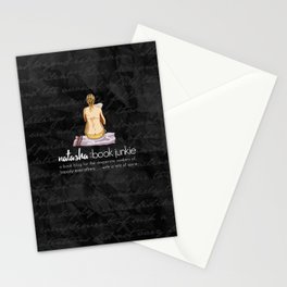 Natasha is a Book Junkie (logo) on script Stationery Cards