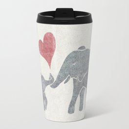 Elephant Hugs with Heart in Muted Gray and Red Travel Mug