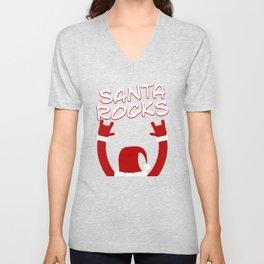Santa Rocks Funny Christmas Unisex V-Neck