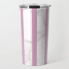 marble vertical stripe pattern baby pink Travel Mug