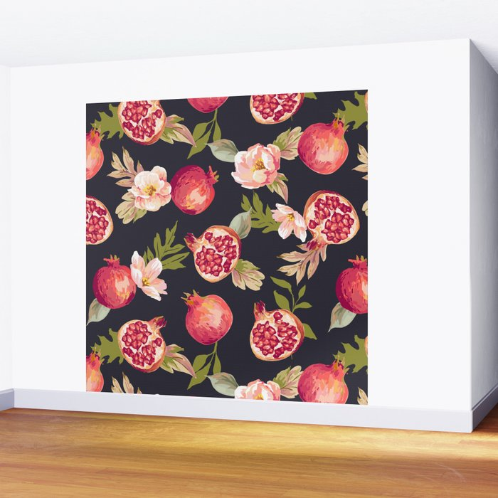 Pomegranate patterns - floral roses fruit nature elegant pattern Wall Mural