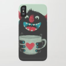 Demon with a cup of coffee Slim Case iPhone X