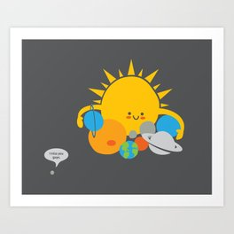 Hugs are for Planets Only Art Print
