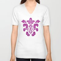 damask V-neck T-shirts featuring Fuchsia Damask by Bailey Anderson