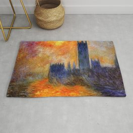 House of Parliament, London, Sun Breaking Through the Fog by Claude Monet Rug
