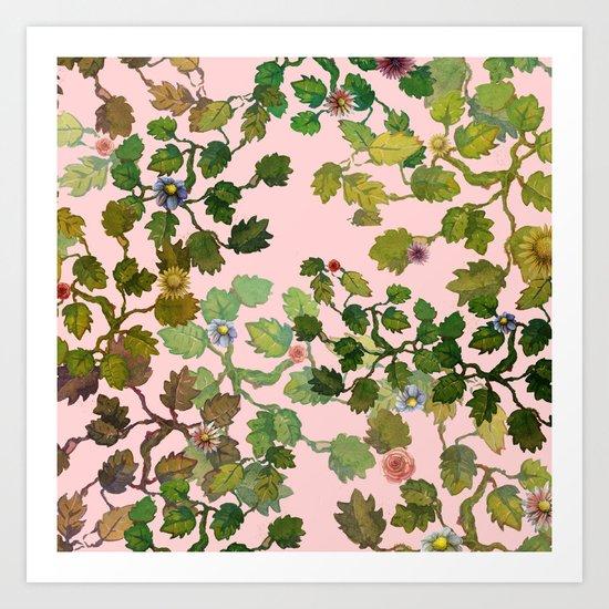 pink nature garden Art Print