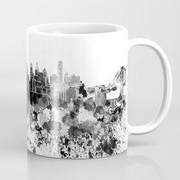 Philadelphia skyline in black watercolor Coffee Mug