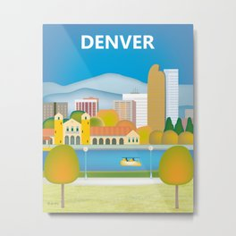 Denver, Colorado - Skyline Illustration by Loose Petals Metal Print