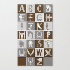 Neutral Vertical Animal Alphabet (Complete Poster) Canvas Print