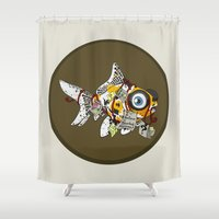wes anderson Shower Curtains featuring Goldfish Anderson by WhoGroovesOn