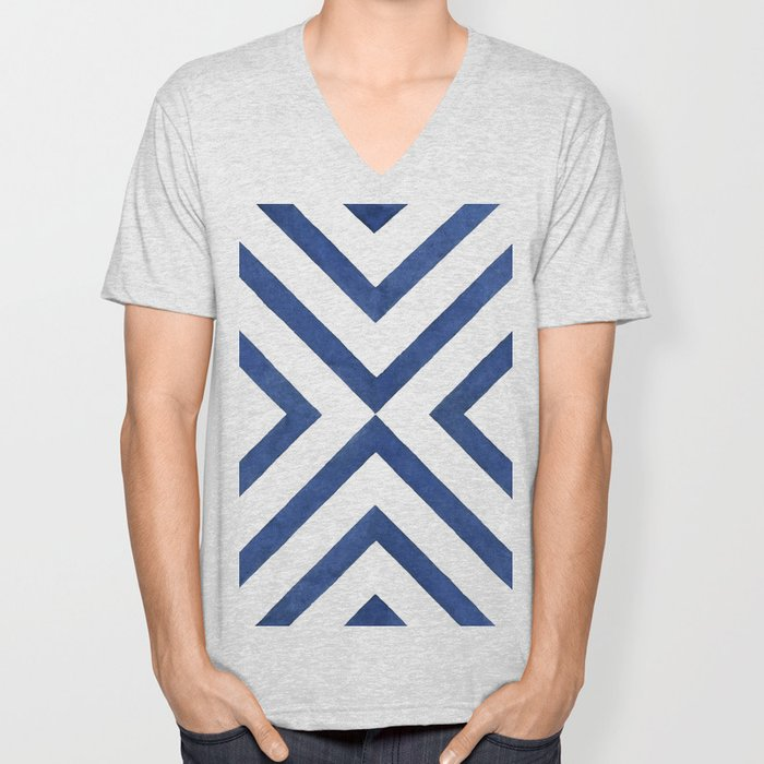 Geometrical modern navy blue watercolor abstract pattern Unisex V-Neck