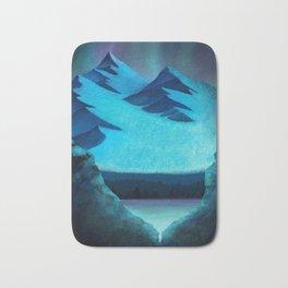 Aurora Borealis In The Mountain Pass Bath Mat
