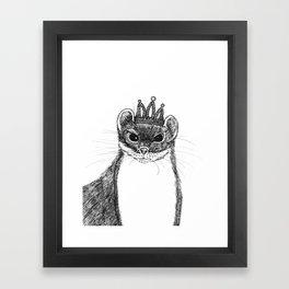 flapper weasel wearing a glittering tiara Framed Art Print