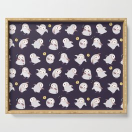 Baby Barn Owls - dark Serving Tray