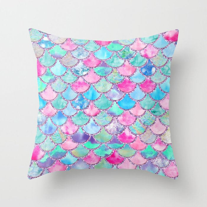 Colorful Pink and Blue Watercolor Trendy Glitter Mermaid Scales  Throw Pillow