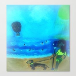 Dog And Girl Looking Through Binoculars At The Beach Canvas Print