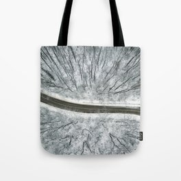 Winter forest and Road. Top view. Tote Bag