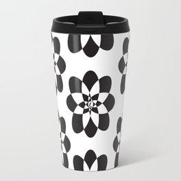 Atomic Flower Black and White Travel Mug