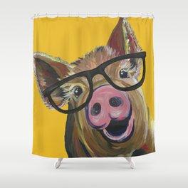 Pig with Glasses Art, Farm Animal, Cute Pig Art Shower Curtain