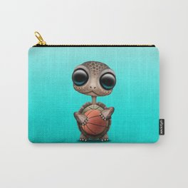 Cute Baby Turtle Playing With Basketball Carry-All Pouch