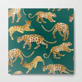 Jaguars in Jade Metal Print