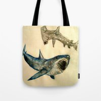 sharks Tote Bags featuring Sharks by Jen Hallbrown