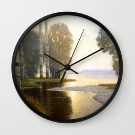 Landscape with Birches by Vilhelms Purvītis - Latvian Lettish Fine Art - Purvitis Wall Clock