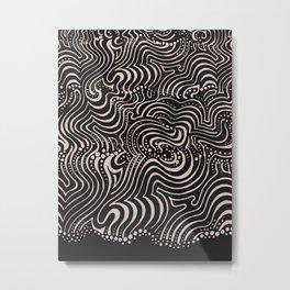 swirls with dots on black Metal Print