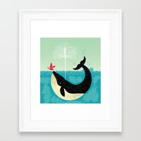 bird Framed Art Prints featuring The Bird and The Whale by Oliver Lake