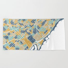 Barcelona map Beach Towel