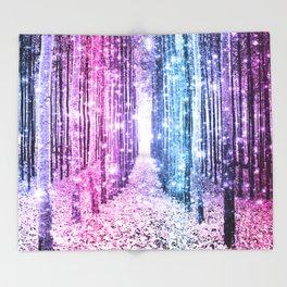 Magical Forest : Pastel Pink Lavender Aqua Periwinkle Ombre Throw Blanket