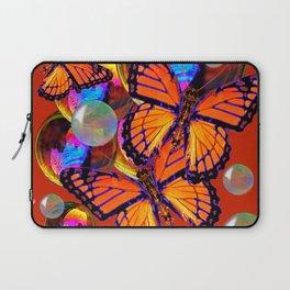 DECORATIVE MONARCH BUTTERFLIES & SOAP BUBBLES  ON TURMERIC  COLOR ART Laptop Sleeve