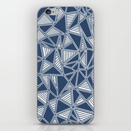 Abstract Outline Lines Navy iPhone Skin