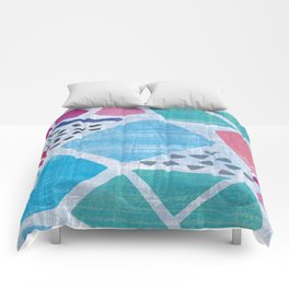 Abstract pattern in blue, pink and green pastel colors Comforters