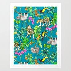 Rainforest Friends - watercolor animals on textured teal Art Print