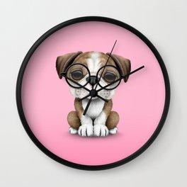 Cute English Bulldog Puppy Wearing Glasses on Pink Wall Clock