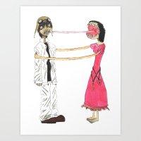 gorillaz Art Prints featuring Lick Me by Maison Mendoza