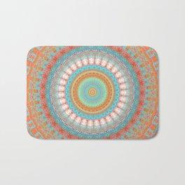 Turquoise Coral Mandala Design Bath Mat