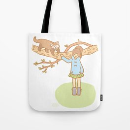 Girl with a red panda Tote Bag