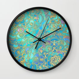 Sapphire & Jade Stained Glass Mandalas Wall Clock