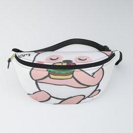 Pink Panda eating Burger Fanny Pack