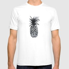 Black and White Pineapple Mens Fitted Tee SMALL White