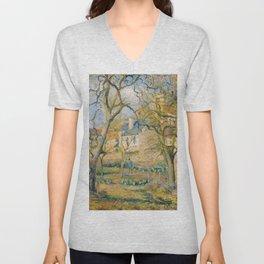"""Camille Pissarro """"Vegetable Garden"""" Unisex V-Neck"""