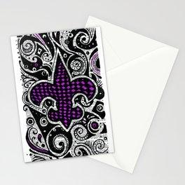 Fleur de Lis Purple Stationery Cards