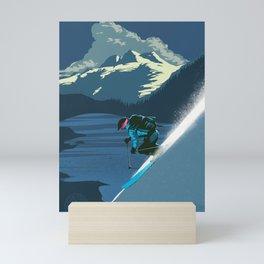 Retro Sunset Alpine Ski Travel Poster Mini Art Print