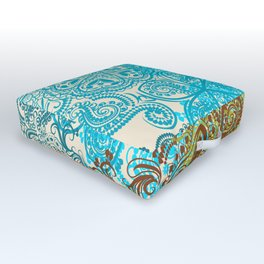 Indian boho pattern with ornament in blue, ornage and green Outdoor Floor Cushion