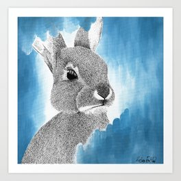 The Dreamy Blue Bunny painting Art Print
