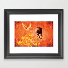 Lion Rescuing Cub from the Fire Framed Art Print