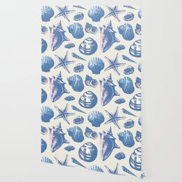 Seashells Pattern 3 - Faded Blue Wallpaper
